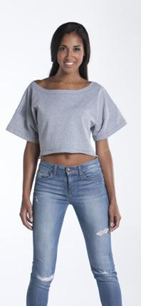 Trillium Crop Top Style: LTPWT Short sleeves and raw-edged collar and bottom create a funky cropped style for this multi-functional top. Made from our all season Reparel fleece.