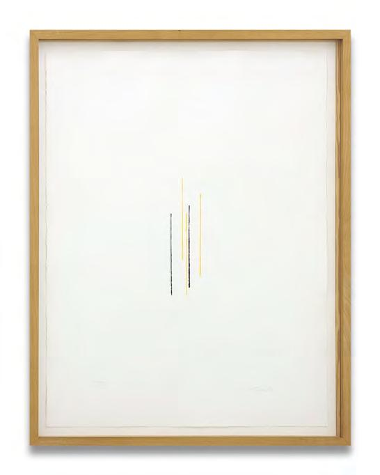 Fred Sandback Untitled Two colour stencil print made with a ruler on