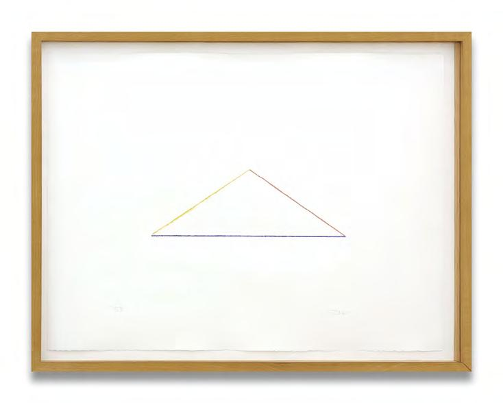 Fred Sandback Untitled Three colour stencil print made with a ruler on