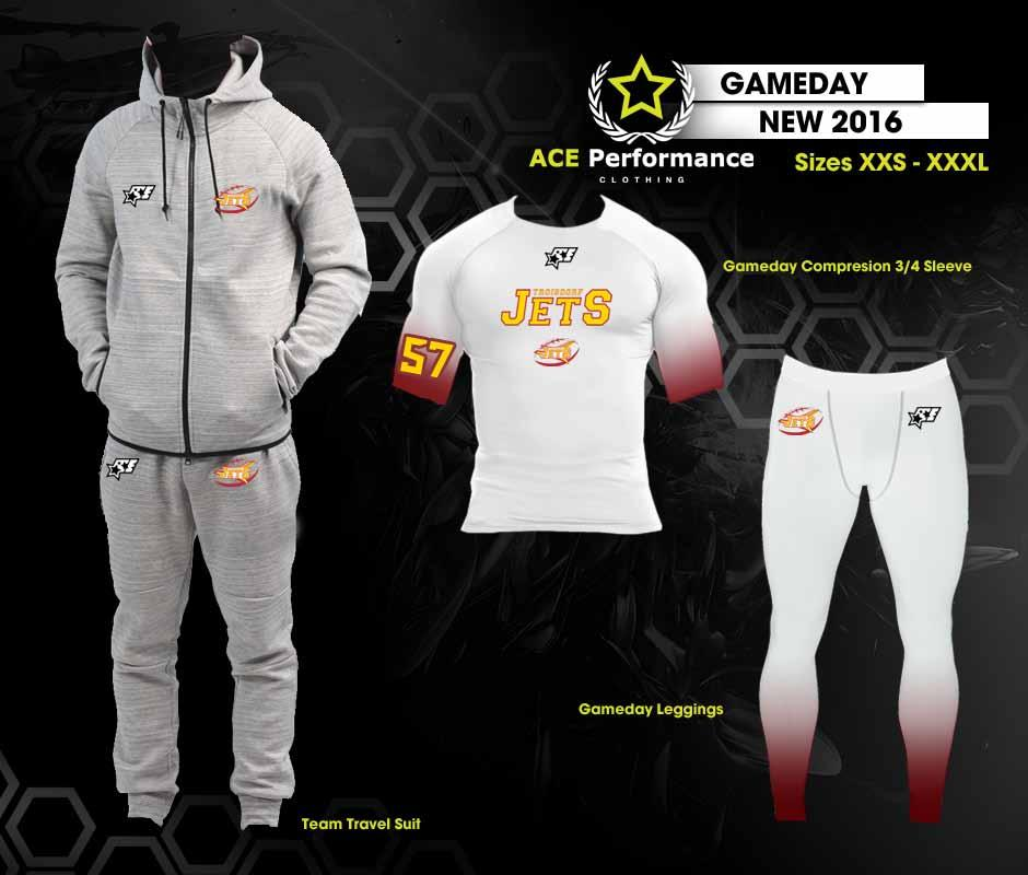 PLAYER GAMEDAY TEAM PACKAGE: 1 Team Travel Hooded Sweatsuit 99.90 1 1/2 Sleeve Polyester Sublimated 34.