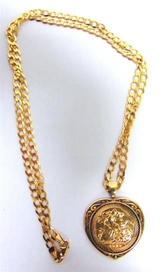 2g gross 33 A 1982 HALF SOVEREIGN in a 9 carat gold heart shaped pendant mount, on a 9 carat gold chain, 50cm long, 12.7g gross 150-180 (plus 23.4% Buyer s Premium incl.