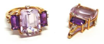 57 A PAIR OF COLOUR CHANGE FLUORIE EARSTUDS stamped '10k' 66 A 9 CARAT GOLD THREE STONE RUBY RING the step cuts within a border of single cut diamonds above and below, finger size K1/2, 4.