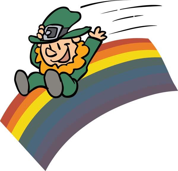 This Little Leprechaun This little leprechaun slid down the rainbow. (Point to thumb.) This little leprechaun stayed home. (Point to index finger.) This little leprechaun picked a shamrock.