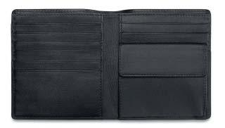 12 card holders and 2 slip-in compartments. Dimensions: 19.5 x 9.
