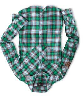 01 05 4 Men s Q3 checked shirt Long-sleeve, pointed yoke on