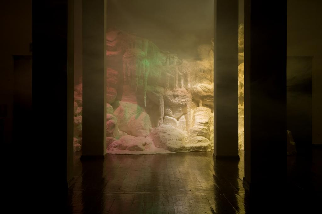 WAX, RELAX (2011) Wax, Relax (with Hyerogliphic Being), wax, coloured lights, fog machine,