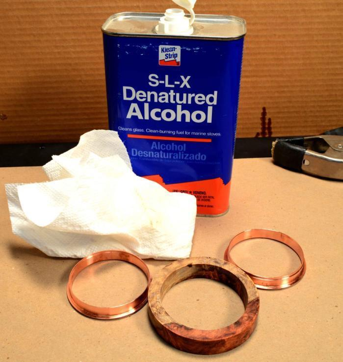 Step Nine: Using denatured alcohol, wipe off the metal core and the inside of the bangle blank to