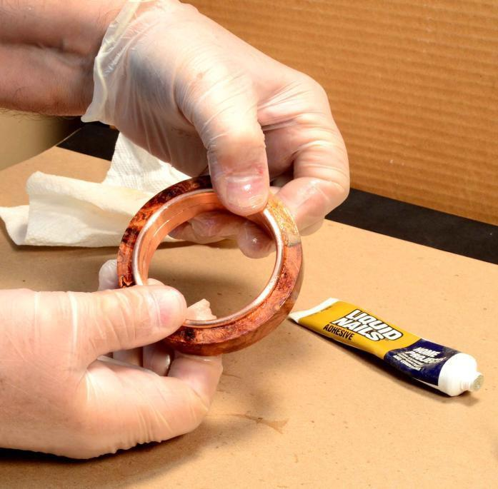 Make sure you get the glue on all the inside edges of the bangle and the metal core for a strong