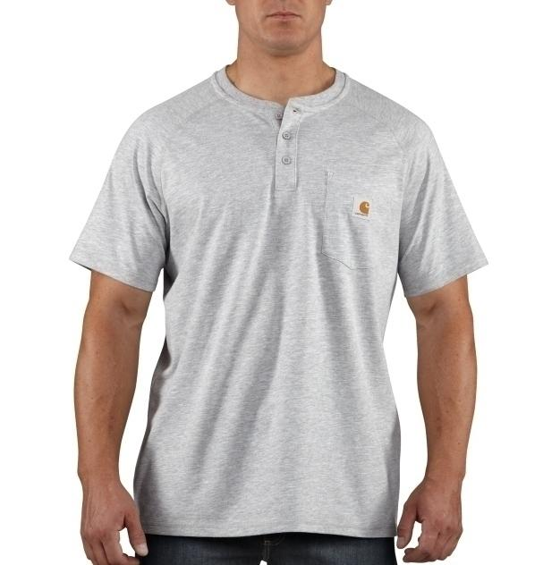 5.75 ounce, 65%Cotton/35% Polyester FastDry wicks sweat away Henley collar with 3 button front