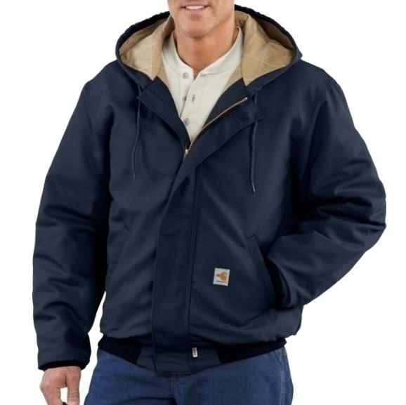 58% cotton/35%modacrylic/ 7%polyester blend with water repellent finish. Attached hood with draw cord closure. 2 front hand warmer pockets. Rating: 33.