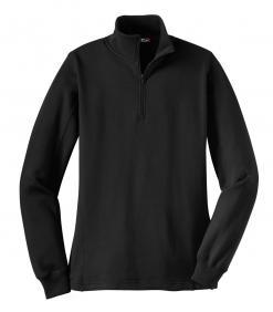 Sport-Tek Ladies ¼ zip Sweatshirt A stylish feminine fit and flatlock stitching details make this sweatshirt stand out. A rib knit cadet collar and 1/4-zip add to its appeal.