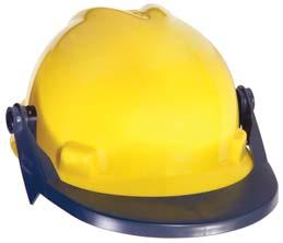 brim and an elastic band, which wraps around the back of the hard hat.