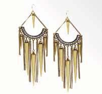 TRIBAL BEAUTY EARRINGS #20023 $94 Matte gold cones and burnished gold fringe sway freely on an arc of Austrian crystals