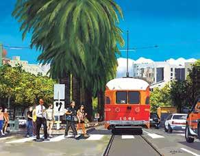 His education and experience in design gave him the eye for detail which he conveys in his paintings of urban scenes.