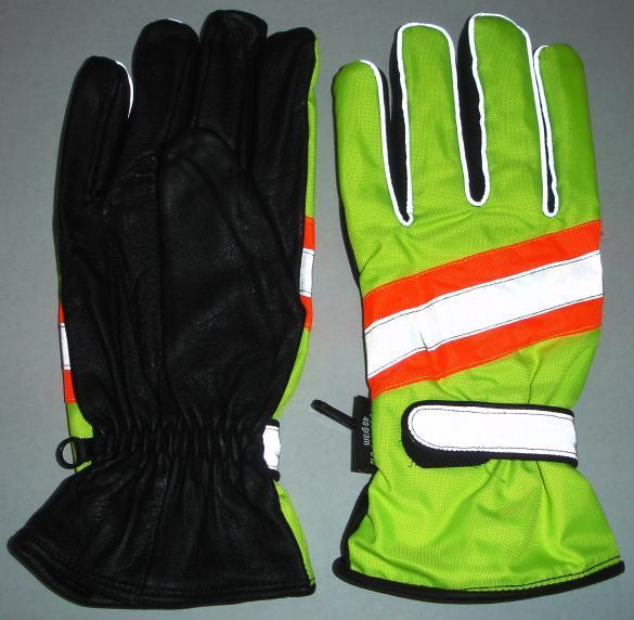 GLOVES Available from stock; Fluorescent yellow back with orange strip gloves; Features: Leather/300D water resistant oxford fabric; Soft leather palm for enhanced grip; 3M reflective tape