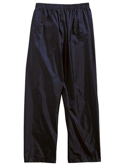 OVERTROUSERS Available from stock; Navy, Black, Olive or Saturn Yellow overtrousers; Features: Ligtweight PU coated Nylon; Elasticated waist; Access to side pockets with flaps;