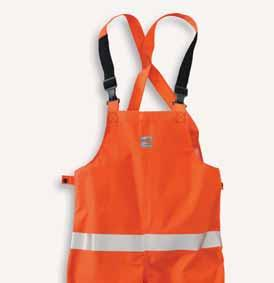 IIIA fabric with FR neoprene moisture barrier Rainproof Chemical splash Attached hood and stowaway functionality Two front patch pockets with flaps Lanyard pass-through for safety harness