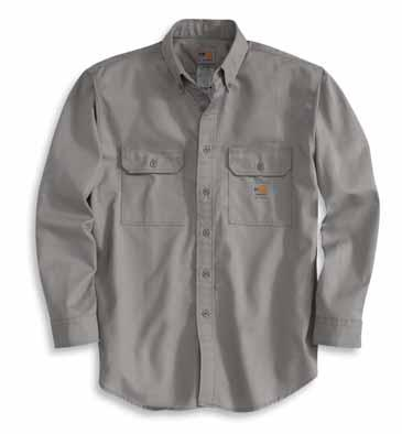 snaps throughout Two chest pockets with rivet reinforcements Adjustable two-snap cuffs with extended plackets Carhartt FR label sewn on left