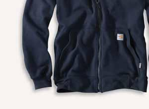 spandex-reinforced rib-knit cuffs and waistband Front hand-warmer pocket Carhartt FR and NFPA 2112/CAT 3 labels sewn on pocket Meets the performance requirements of NFPA 70E and is UL Classified to