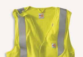 Carhartt FR and labels sewn on pocket ANSI class 3, level 2 compliant, 3M Scotchlite reflective material; segmented trim (#5510) maintains