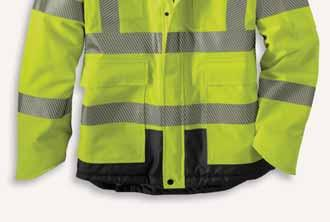 High-Visibility Class 3 Waterproof Sherwood Jacket 100787 250-denier, 100% polyester shell Waterproof membrane and Rain Defender durable waterrepellent finish Brushed