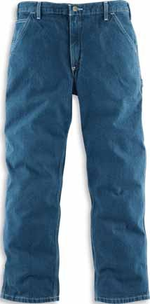 5-ounce, 82% cotton/18% polyester denim Sits at the waist Relaxed seat and thigh Ounce-for-ounce as durable as 15-ounce Stronger sewn-on-seam belt loops denim Straight leg opening 980 968