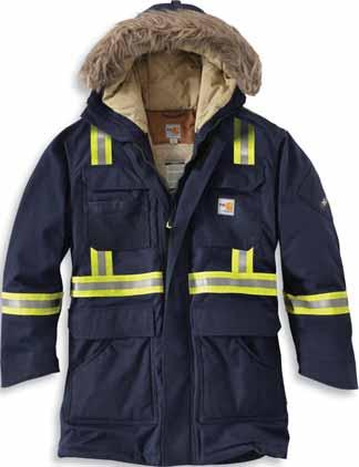 for increased warmth Fully Insulated with 200g 3M Thinsulate Platinum Insulation FR with twill face cloth Insulated stand-up collar Nomex FR inside-waist adjustable draw cord to keep the weather out