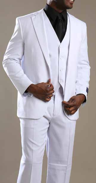 White Heather Grey 3-Piece Suits in Solid-color Poly-Rayon