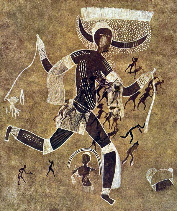 Running horned woman. Tassili n Ajjer, Algeria.