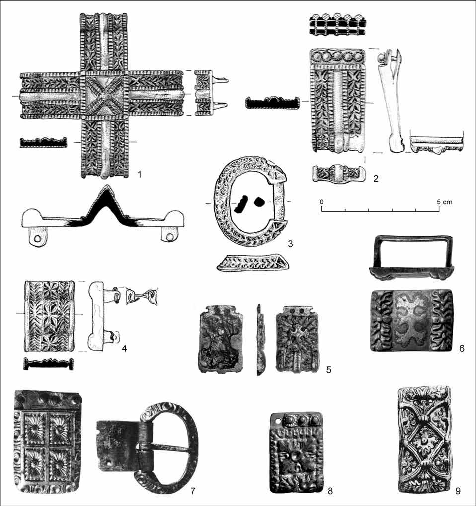 The Origins and the CollaPSe of the Blatnica-Mikulčice Paradigm 125 Fig. 21. Carolingian-type rectangular strap fittings.
