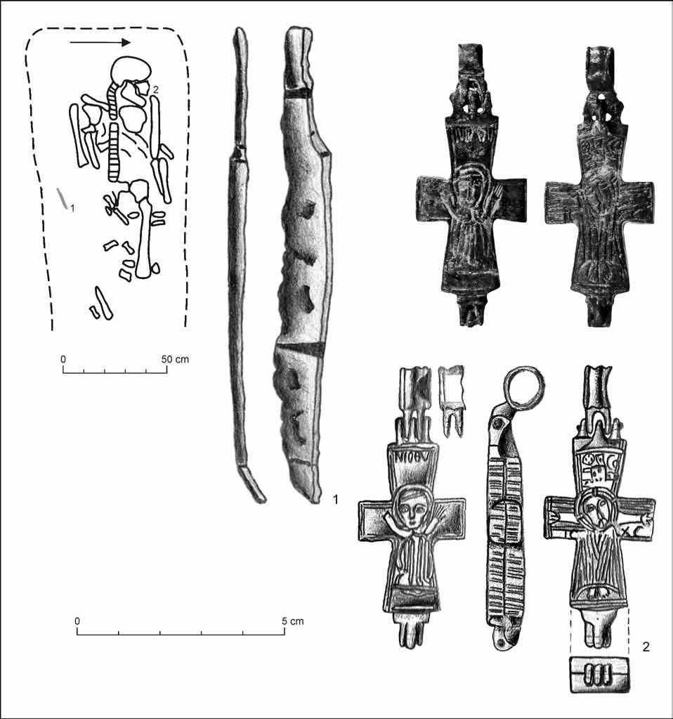 168 Aurel Dragotă Fig. 5. Alba Iulia-King s Spring. Grave 24, the knife and the reliquary cross (drawing/photo by Valentin Deleanu and Mihai Blăjan).