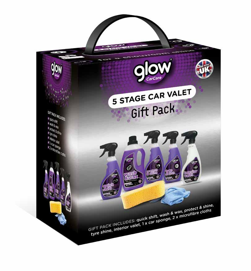 5 stage car valet gift pack x 4, x 1 3 units per case case 4kg 162 units per pallet (54 cases) glow car care 5 stage