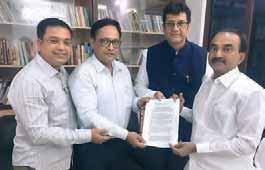 MP Ajay Sancheti with Sankar Sen, Nitin Khandelwal, Avinash Gupta and Ashok Minawala submitted the representation to the FM Arun Jaitley Suggestions & Recommendations We propose that the rate of 5