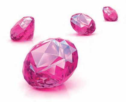 Kaleidoscope Cutting Edge diamond, multi -process treated material, coated diamonds and the synthetic pink diamonds.