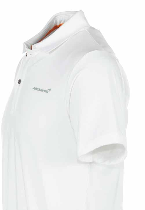 Men s White Polo Shirt Our unique, high quality take on a timeless classic, the McLaren polo shirt is crafted from a cotton-bamboo blend which is extremely soft to the touch and very comfortable to