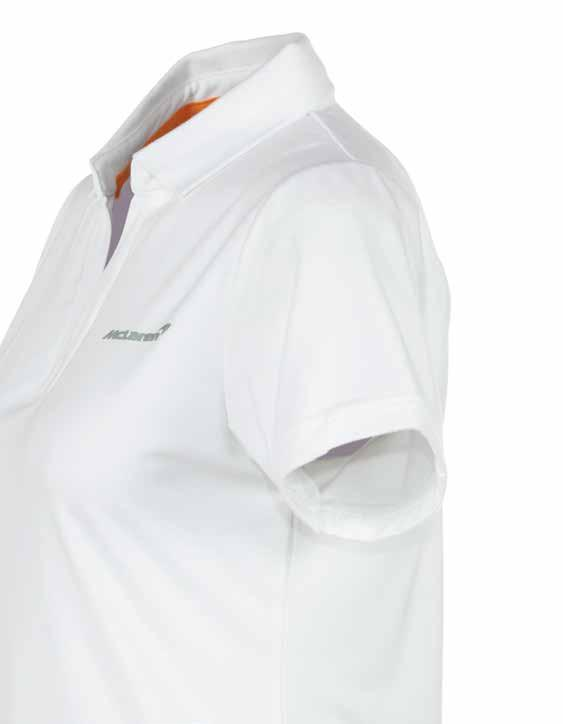 Women s White Polo Shirt Our unique, high quality take on a timeless classic, the McLaren women s polo shirt is crafted from a cottonbamboo blend which is extremely soft to the touch and very
