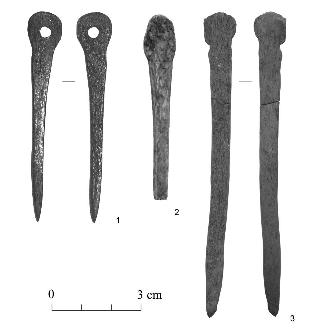 30 Fig. 7. Bone pins made from rib from Ķivutkalns, Latvia (1) and Asva, Estonia (2, 3) (LVM A VI 120: 1667; AI 3994: 536; 3307: 206). Discussion: why did the bone worker choose an unusual material?