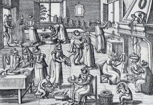 2- Washings the ruffs, engraving by Crispin van der Passe (1564-1637). It was used by Laver in his book Clothes.