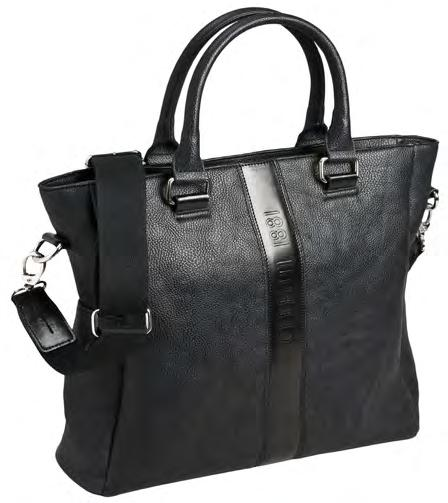 Black textured imitation leather bag Black cotton lining Zipped closure