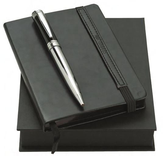 Black and chrome metal ballpoint pen Black 80 page notebook With
