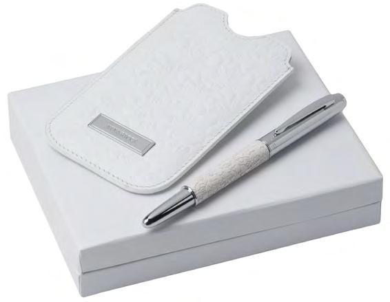 Notebook + pen set White A6 PU cover notebook with 80 unlined sheets White and chrome