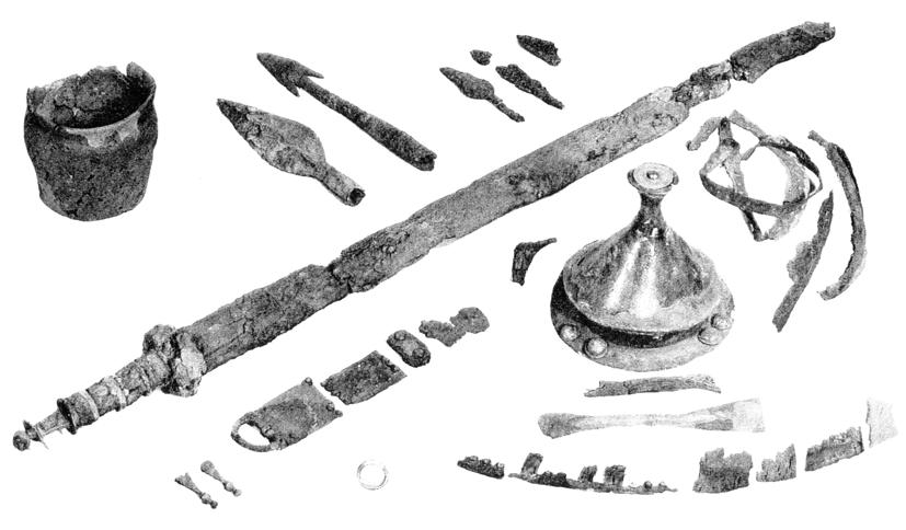 Fig. 4. The weapon grave at Bø from C1b. After Sjøvold 1962. (Møllerop 1971; Magnus & Myhre 1986). However, interpretation has changed during the past decade.