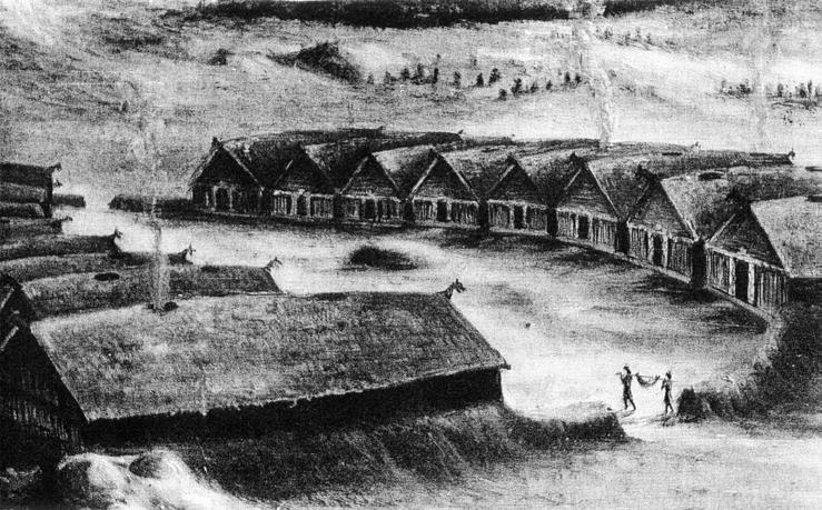 Fig. 7. Reconstruction of the Steigen courtyard site, note the mound in the centre of the yard. After Egenæs Lund, Tromsø Museum.