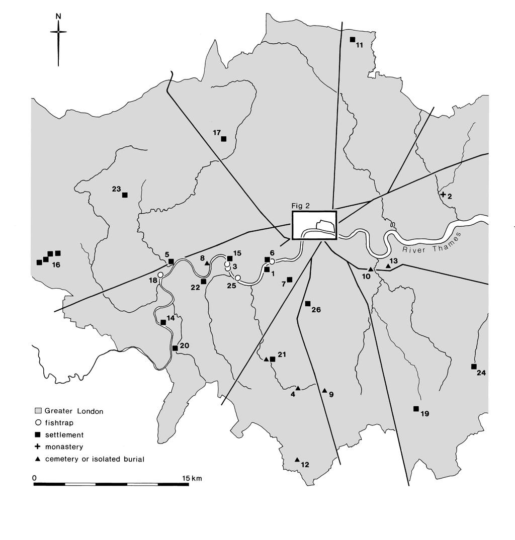 Fig.1. The London region in the period 450-600, showing sites mentioned in the text (after Cowie 2000). 1. Battersea; 2. Barking; 3. Barn Elms; 4. Beddington; 5. Brentford; 6. Chelsea; 7. Clapham; 8.