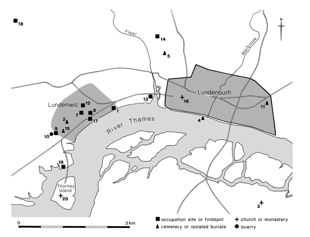 Fig. 2. Lundenwic and the former Roman city, showing sites mentioned in the text (after Cowie 2000). 1. Arundel House; 2. Bedfordbury; 3. Bermondsey Abbey; 4. Bull Wharf; 5. Cowcross Street; 6.
