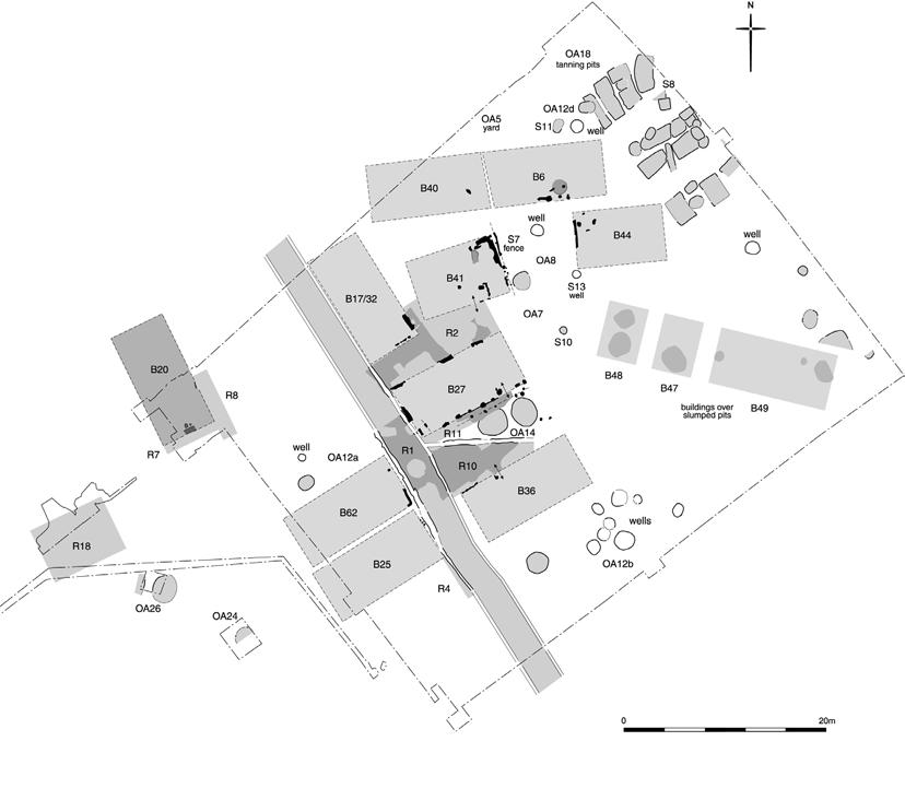 Fig.7 The Royal Opera House site in the mid-8 th century, showing the road (R1) and buildings aligned with it (B17/32, B20, B25, B27, B36, B62-B8) with a smaller alley (R11; the buildings to the rear