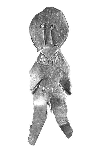 Fig. 7. A male figure cut out of thick gold foil, with a neck ring and a belt marked. 6:1.