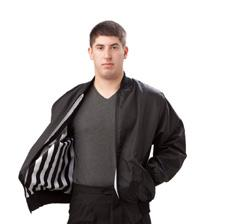 Traditional 100% polyester black and white striped outer shell with a water and wind resistant nylon inner shell to keep you dry and warm during inclement weather.