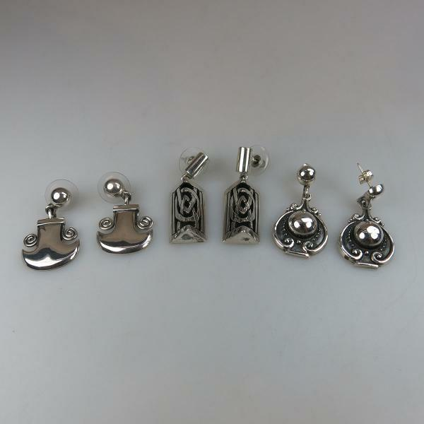 65 Three Pairs Of Mexican 950 Grade Silver Drop Earrings including a pair