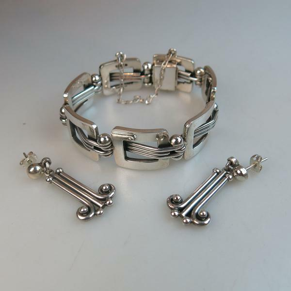 "Silver Bracelet And Drop Earrings length 7.2"" 18.4 cm., 74."